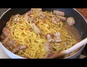 Tagliatelle con Canocchie e Zuppa di Pesce