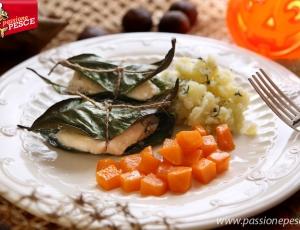 Filetti di rombo in foglie di limone con zucca gialla e purè di patate