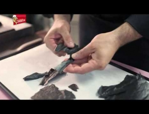 Ricetta del Millefoglie di Patate al nero con mousse di Nasello al Caprino