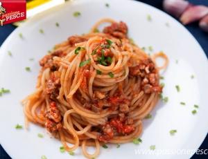 Spaghetti con ragù di sarde